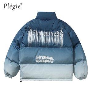 Plegie Hip Hop Gradyan Batik Baskı Pamuk yastıklı Puffer Unisex Parka Ceket Streetwear Erkek Punk Rock Kalın Parkas Coats