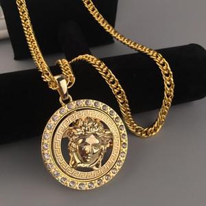 Популярные Hip Hop Mens женщин ожерелье Diamond Jewelry Head Вращающийся Ночной клуб Performance Bar Ожерелье Модные Мужчины Wome ожерелья