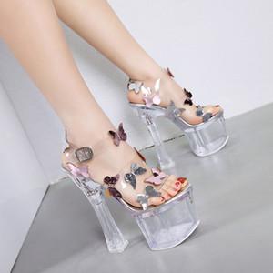 PVC kristal kelebek sandalet ultra yüksek topuklu şeffaf kalın topuk 8 cm platformu gelin yaz düğün ayakkabıları 18cm