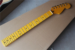 6 Strings Yellow Maple Neck Electric Guitar Neck with Chrome Tuners,Maple Fingerboard,Can be customized as request
