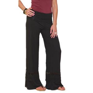 Kadınlar Geniş Bacak Pantolon Hollow Out Boho Yüksek Bel Palazzo Pantolon Casual Uzun Pantolon Gevşek Culottes