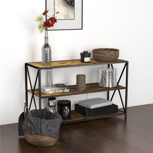 Fashion Style Long 3 Tiers Vintage Shaped Console Table Industrial Table with Shelf Bookshelf Living Room Furnitur
