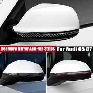 Pour Audi Q5 Q7 Rearview Mirror anti-frottement Inserts réel en fibre de carbone autocollants de décoration voiture intérieur Accessoires