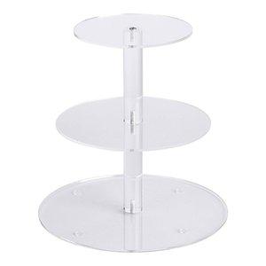 3 Tier Acryl-Glas Runde Kuchen Ausstellungsstand Dessertständer, Gebäck Servierplatte, Kuchen-Standplatz, Kuchenform aus Papier ideal für die A