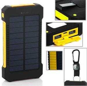 LED와 20000mah 태양 광 발전 은행 충전기 무료 DHL 충전 나침반 캠핑 램프 더블 머리 전지 패널 방수 야외 손전등