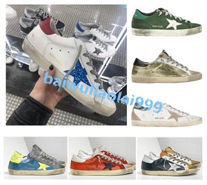 2020 Italy Old Style Fashion Multicolor Superstar Genuine Leather Low-top sneakers Men Women Classic White Do-old Dirty Shoes Casual Shoes