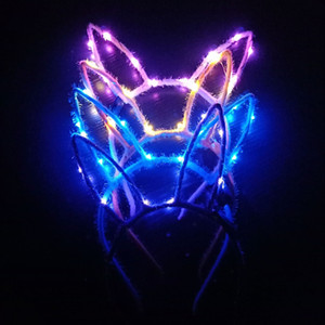 LED cheveux lampes flash Braid nouveau style lumineux Lapin Eared Bandeau LED rouge Coiffe Net Celebrity Inspired flash Lapin Eared HEADB