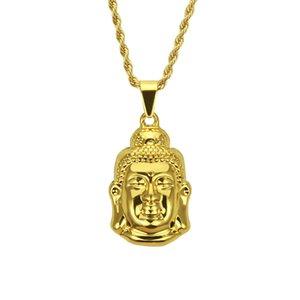 Forma de estátua de Buda Hip hop pingente de colar para homens Hip hop rapper estilo pingente de colar Fábrica barato barato de jóias por atacado
