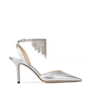 Pompe nere camoscio donne metallo argento sandali tallone della punta aguzza spillo cinghia dell'inarcamento sandali nappa cristallo slingback scarpe partito