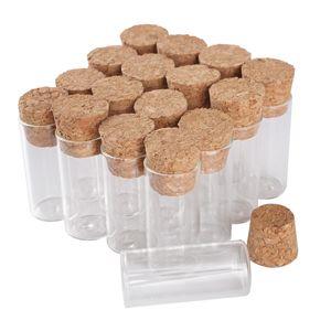 venta al por mayor 100 piezas de 3 ml 16 * 35 mm Tubos de ensayo con el corcho tapas de vidrio Frascos de vidrio Botellas de vidrio Viales minúsculos por arte de DIY accesorios