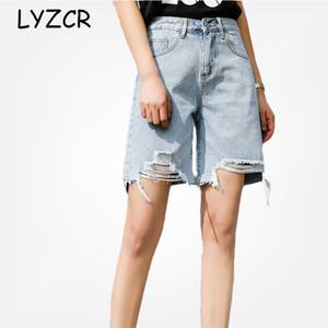 LYZCR gamba larga di lunghezza del ginocchio dei jeans delle donne pantaloni a vita alta jeans strappati per le donne allentato Denim Estate Cpris Femminile 2020