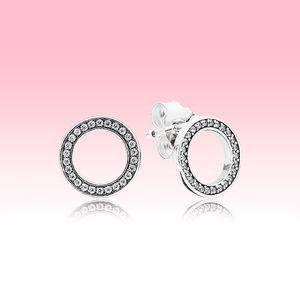 Funkelnder Kreis Ohrstecker 925 Sterlingsilber-Frauen-Schmucksachen mit ursprünglichem Kasten für Pandora CZ Diamanten Kreis-Ohrring-Sets