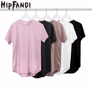 HIPFANDI 2018 Estate Pure T-shirt rosa nero all'ingrosso esteso T-shirt da uomo Mens Hip Hop nuovo design Street Men T shirt economici