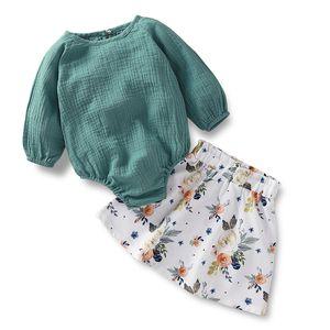 3-24M neonata Toddle misto cotone Body Set Spring Fashion Stampa Gonna infantile morbida Pulsante Elastic Girl Tuta Gonna Suit