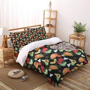 Pizza de aguacate verano Impreso Sistemas del lecho Juegos de cama duvet cover set funda de almohada Inicio Ropa de cama Ropa de cama