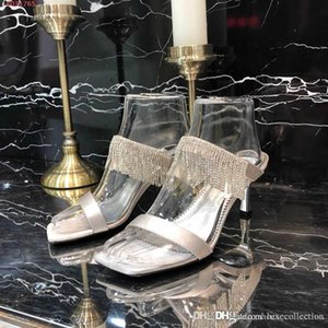 New fashion show Square head slippers,High-heeled slippers with crystal tassels,fashion women slippers,Size 35-40
