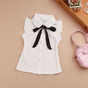 2-15Y Summer Baby Teenage Girls Blouse Child White Chiffon Bow Sleeveless School Girl Tops Fashionable Shirts For Kids JW1119