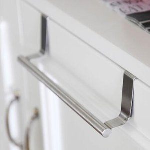 Stainless Steel Door Hook Towel Racks Over Door Towel Rack Bar Hanging Holder Bathroom Kitchen Cabinet Shelf Racks