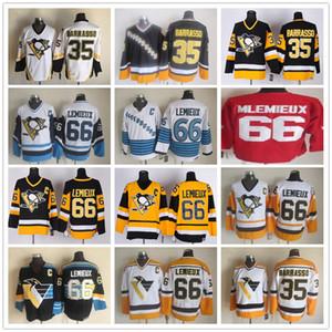Barato # 66 Mario Lemieux 35 Tom Barrasso Vintage Negro Amarillo Oro Blanco CCM Pittsburgh Penguins jerseys de hockey sobre hielo
