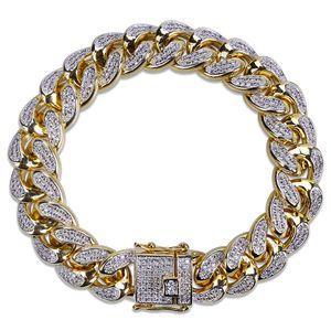 Nouveau 18k plaqué or Mens Glacé CZ Zircon Miami Cuban Chain Link Bracelet 10 14 18mm Rapper Hip Hop Punk Rock Curb Bijoux Cadeaux pour les garçons