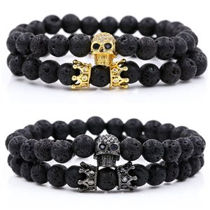 natural Volcanic stone Micro-inlay Black eye Shantou Small crown wristband Bracelet Couple 2pcs Suit