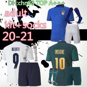 20 21 Italie 3ème Kit + Chaussettes Men Soccer Jerseys 2020 2021 Coupe Urorotien Team National Team Italie Bonucci Immobile Insigne Third Football Jersey Shirt