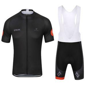 2019 STRAVA bisiklet forması Erkekler stil kısa kollu gömlek önlük / şort set bisiklet giyim mtb bisiklet açık spor ropa ciclismo 122603Y