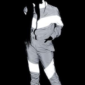 Frauen Tracksuits 2-teiliges Set Reflective Zip Crop Top Hosen Windjacke Mode weibliche lose Glow-Jacken-Mantel-Hose plus Größe