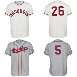 Brooklyn College 1956 Home Road Jersey 100٪ شعارات التطريز مخيط خمر البيسبول الفانيلة مخصص أي اسم أي عدد شحن مجاني