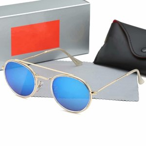 High quality male and female gradient pilot sunglasses Vasily sunglasses gold frame blue glass lenses with black case3547