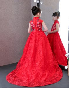 Lovely Red High Neck Lace Applique Girl's Pageant Dresses Flower Girl Dresses Princess Party Dresses Child Skirt Custom Made 2-14 H319522