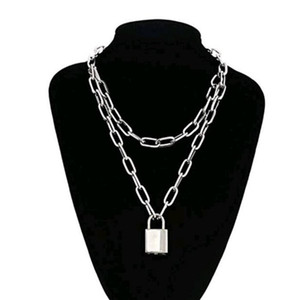 double couche 90 punk verrouillage collier chaîne grunge lien chaîne femmes collier pendentif cadenas couleur or argent bijoux EGirl esthétique