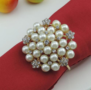 New flower Imitation pearls gold silver Napkin Rings for wedding dinner,showers,holidays,Table Decoration Accessories