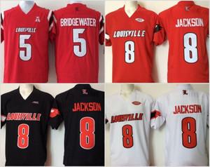 Cheap Mens Università di Louisville il cardinale ha cucito 8 Lamar Jackson 5 Bridgewater Rosso Nero Bianco Calcio Maglie