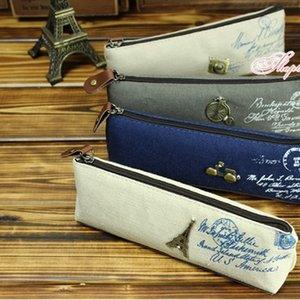200pcs coreano clássico lápis lona estudante saco de lona cosméticos sacos de maquiagem sacos retro Aprender papelaria