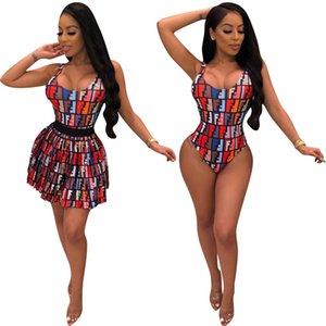 Марка Дизайнер Купальник F Письмо Юбка Повседневная костюм Женщины Bodysuit + Короткая юбка Два Piece Set Double F Letter Printed Короткая юбка Комплект S-2XL