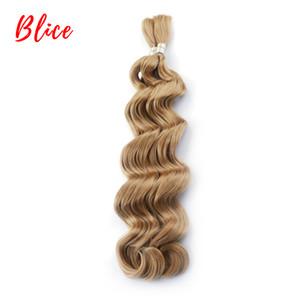 """Blice 18 """"-24"""" Synthetic fasci di capelli No di trama dell'onda naturale 1PCS Crochet sintetiche non condizionate Frosted Blonde estensioni dei capelli per le donne"""