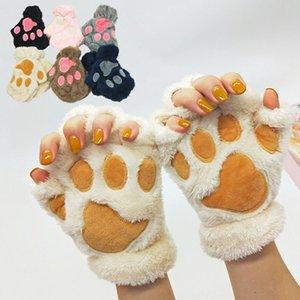 Hot Winter Männer und schöne Katze Frauen Klaue Handschuhe Plüsch Bär Pfote halbe Finger-Handschuhe Cartoon schöne warme Handschuhe Party Supplies T2C5170