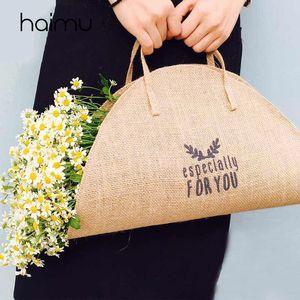 La bolsa oval de lino Sliceflower Planta bolso ramo de flores Embalaje favor bolsa de decoración de la boda del florista de embalaje Bolsas