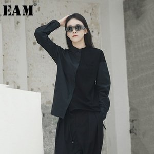 [EAM] 2019 Neue Herbst Winter Revers Langarm Hit Farbe Lose Kurze Unregelmäßige Nähte Shirt Frauen Bluse Mode Flut JH418