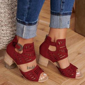 Sıcak Satış-2019 Kadınlar Moda Çıkan Peep Toe Kare Topuk Kamalar Sandalet Yüksek Topuklar Ayakkabı Zapatos Mujer