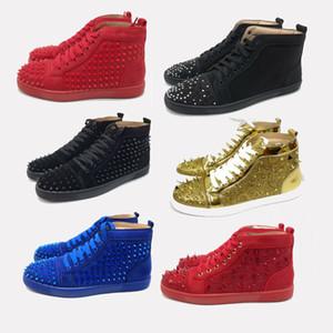 Bottoms Red Shoes Designer de Spike Coupe.bas Chaussures Bleu Robe rouge Spikes chaussures cloutés Flats pour les hommes et les femmes Lovers Sneakers en cuir véritable