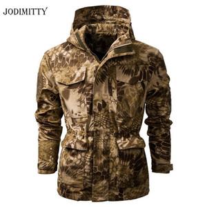 Jodimitty 2020 Soft Shell camuflaje táctico chaqueta de los hombres con capucha caliente impermeable rompevientos con capucha Escudo de abrigo