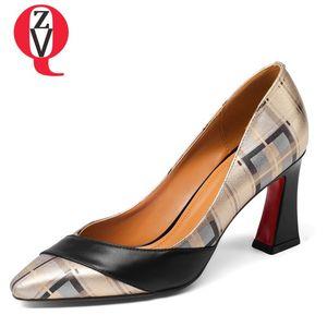ZVQ Vache en cuir jeune fille Shallow Pumps vidéo pompes d'engagement femme confortable printemps couleurs mélangées talons hauts chaussures plus la taille