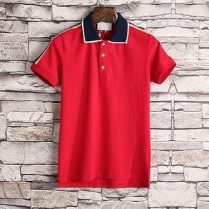 роскошь поло коробки логотип Крокодил Mens Дизайнерские рубашки поло отворотом шеи с коротким рукавом полосатой Printed Mens Polos вскользь подросток тройники