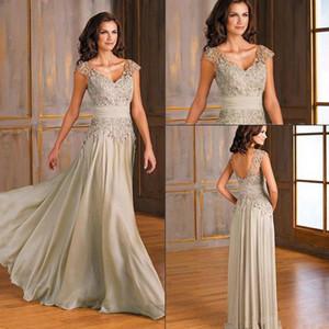Vintage en mousseline de soie une ligne mère de la mariée robes v - cou Applique dentelle mère robes de soirée, plus la taille des robes de bal portent