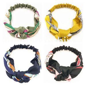 Ins senhoras impressas Headband 4 cores imitado faixas do cabelo de seda Adolescentes Meninas Knot Cruz Lady Bohemia Elastic Headwear acessórios de cabelo 060319