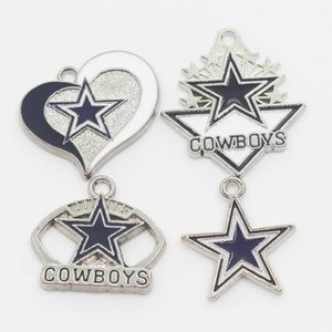 US Football Sport 20pcs lot Cowboys Football Team Dangle Charms Sports Charms DIY Bracelet Necklace Pendant Jewelry Hanging Charm
