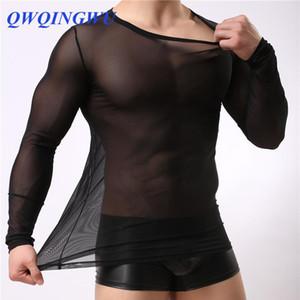 Hommes Undershirt Vêtements hommes gais chemise en maille de nylon Voir Sheer manches longues A travers T-shirts Homme sexy Sous-vêtements chemise transparente