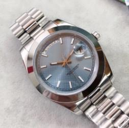 R Series 41MM luminoso azul Dial automático de pulso Mens Suave Bisel Presidente pulseira relógio de cristal de safira Dia e Relógios Data